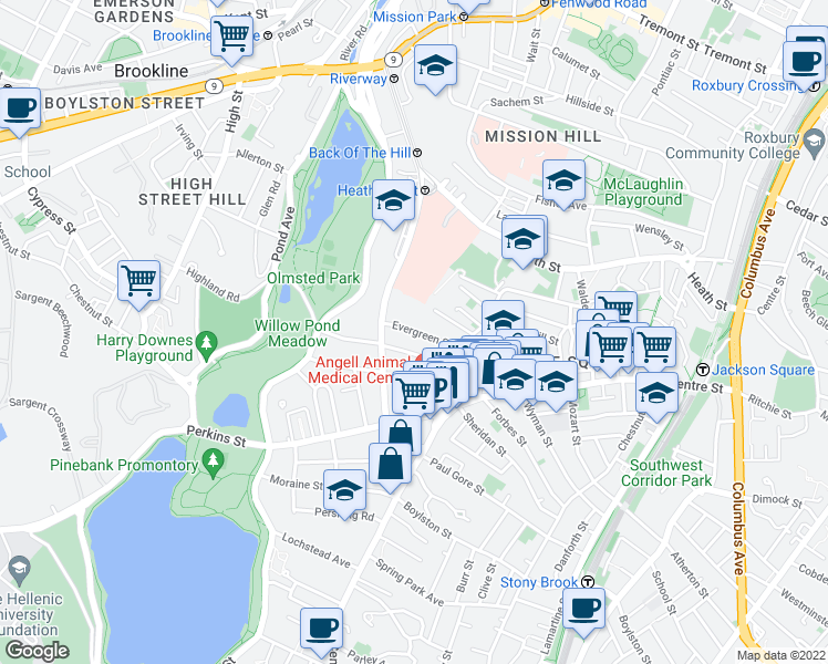 map of restaurants, bars, coffee shops, grocery stores, and more near Evergreen Street in Boston