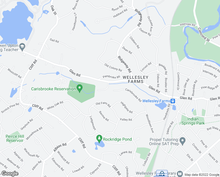 map of restaurants, bars, coffee shops, grocery stores, and more near 8 Glen Brook Road in Wellesley