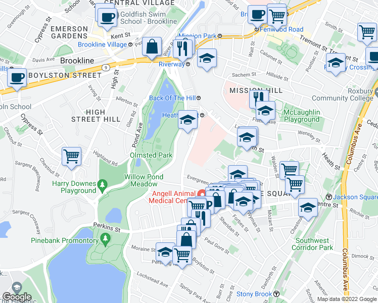 map of restaurants, bars, coffee shops, grocery stores, and more near South Huntington Avenue in Boston