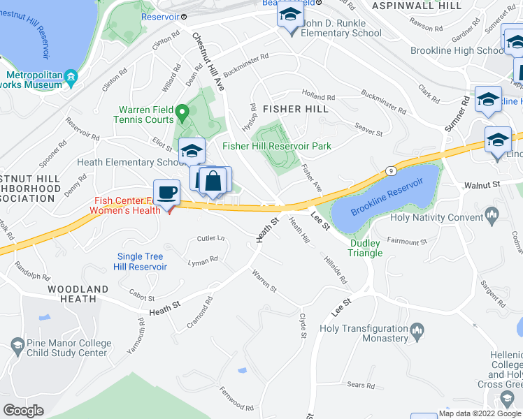 map of restaurants, bars, coffee shops, grocery stores, and more near Boylston St in Brookline