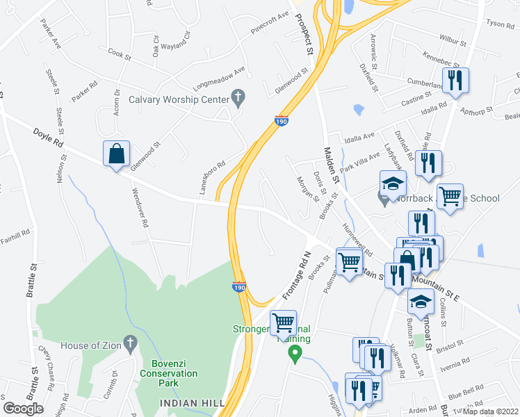 map of restaurants, bars, coffee shops, grocery stores, and more near 1-49 Mountainshire Drive in Worcester