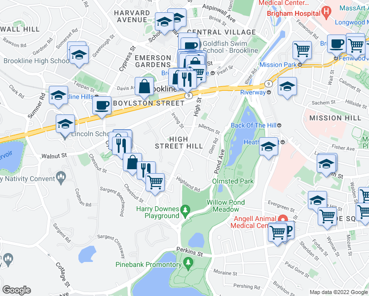 map of restaurants, bars, coffee shops, grocery stores, and more near High Street in Brookline