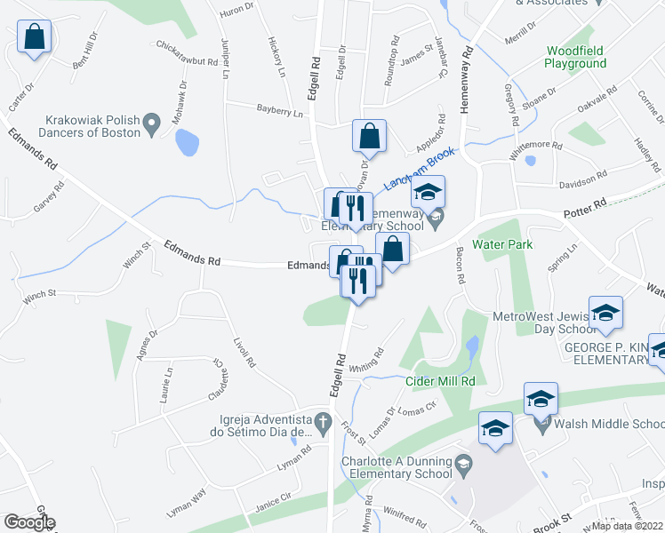 map of restaurants, bars, coffee shops, grocery stores, and more near 28 Edmands Road in Framingham