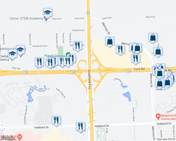 map of restaurants, bars, coffee shops, grocery stores, and more near Ford Rd in Detroit
