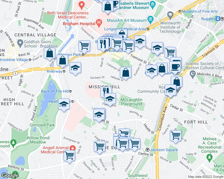map of restaurants, bars, coffee shops, grocery stores, and more near Parker Hill Avenue in Boston