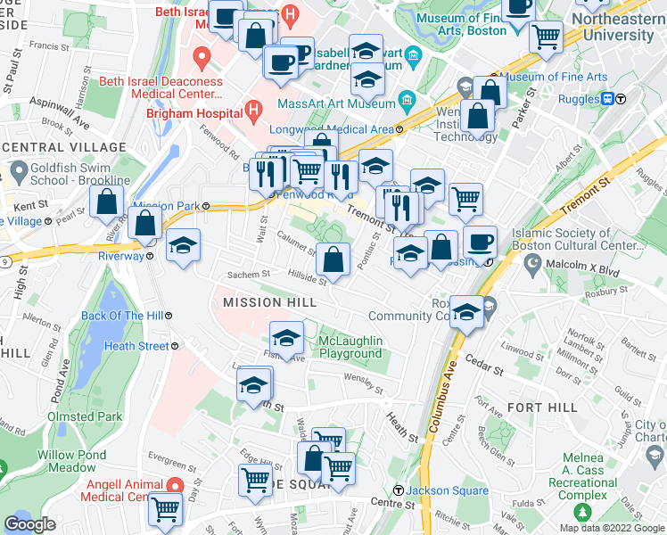 map of restaurants, bars, coffee shops, grocery stores, and more near Calumet Street in Boston