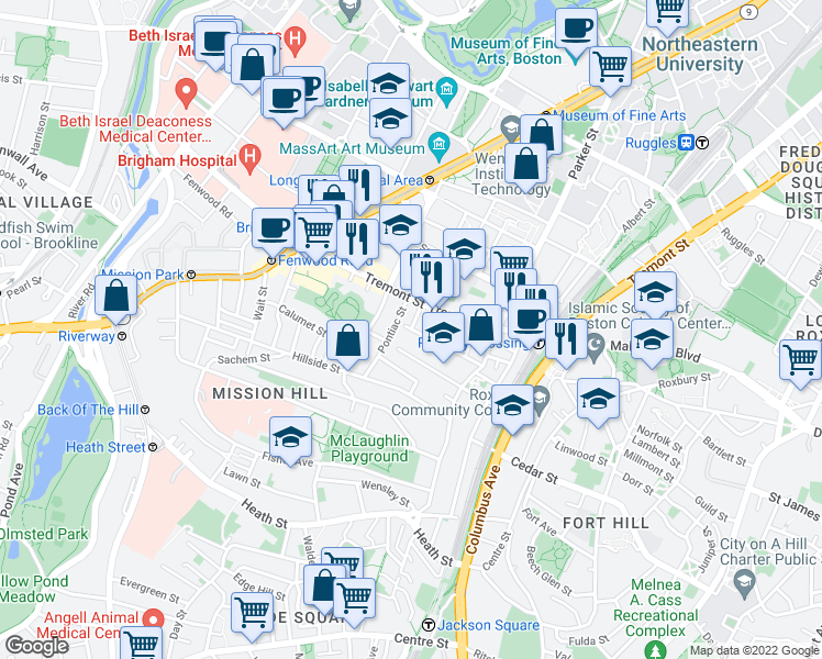 map of restaurants, bars, coffee shops, grocery stores, and more near Carmel Street in Boston