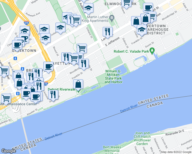 map of restaurants, bars, coffee shops, grocery stores, and more near Detroit Riverwalk in Detroit