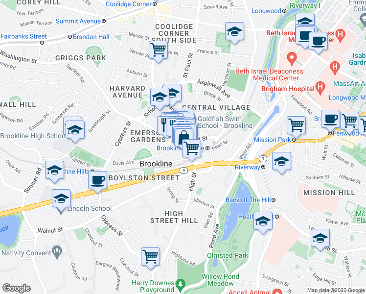 map of restaurants, bars, coffee shops, grocery stores, and more near Washington Street & Davis Avenue in Brookline
