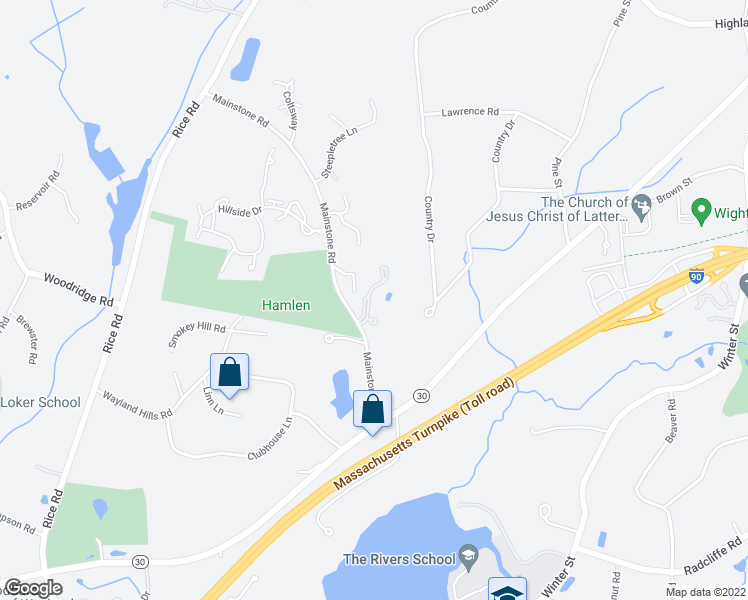 map of restaurants, bars, coffee shops, grocery stores, and more near 13 Glen Oak Drive in Wayland