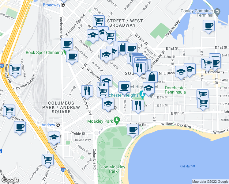 map of restaurants, bars, coffee shops, grocery stores, and more near Dorchester Street in Boston
