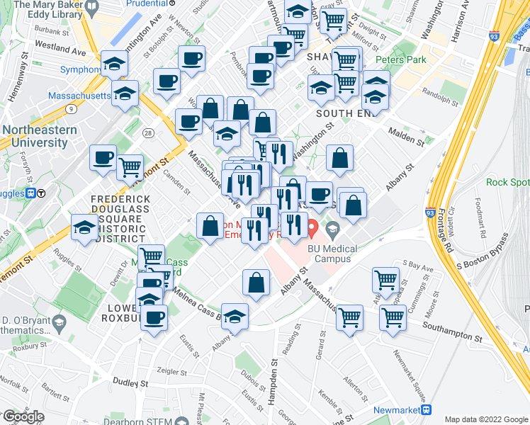 map of restaurants, bars, coffee shops, grocery stores, and more near East Springfield Street in Boston