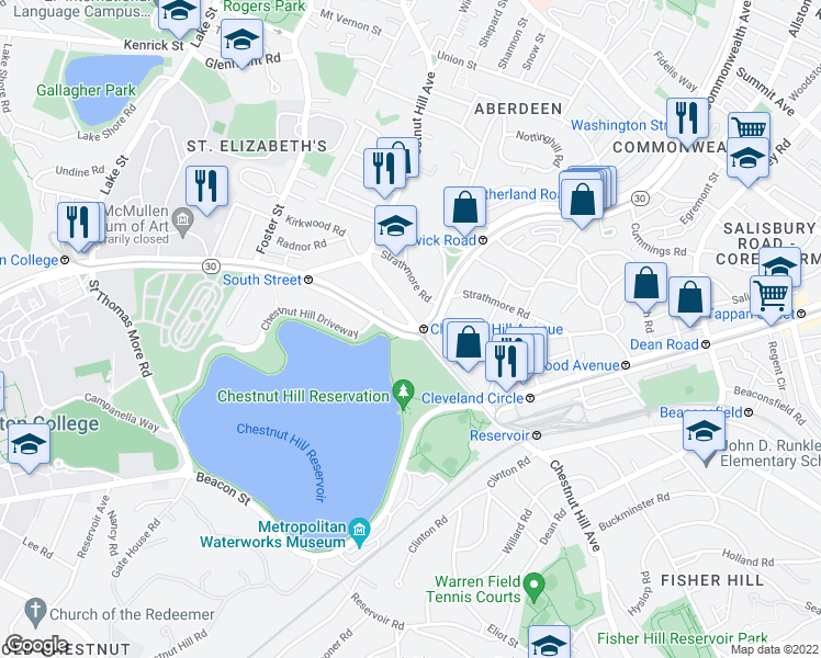 map of restaurants, bars, coffee shops, grocery stores, and more near Chestnut hill reservoir trail in Boston