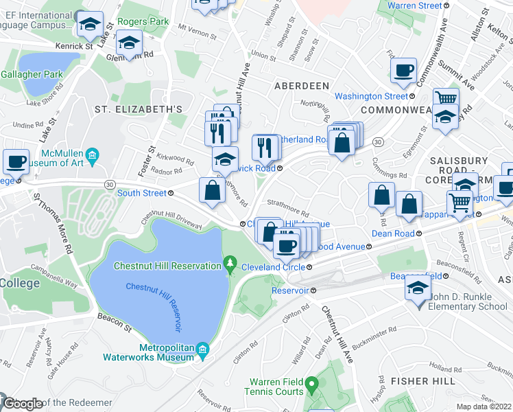 map of restaurants, bars, coffee shops, grocery stores, and more near Commonwealth Avenue & Strathmore Road in Boston