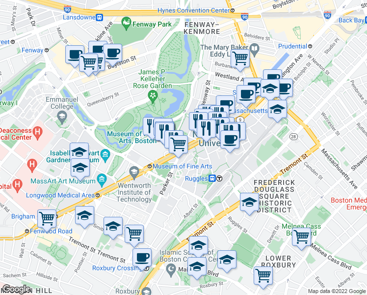 map of restaurants, bars, coffee shops, grocery stores, and more near Huntington Avenue in Boston