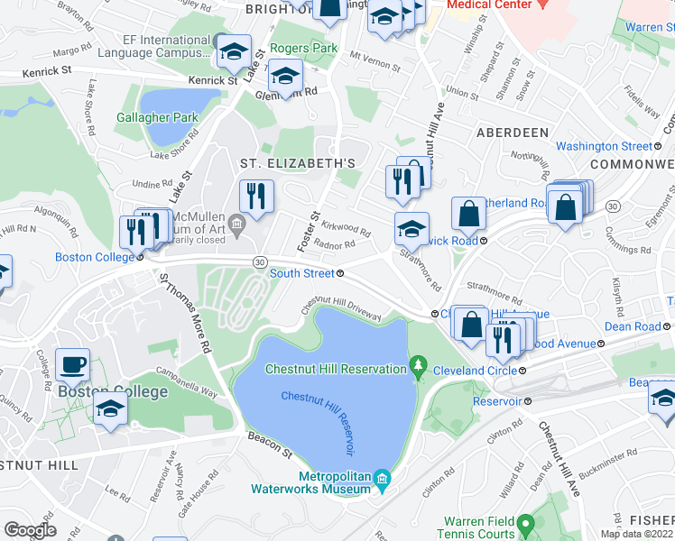 map of restaurants, bars, coffee shops, grocery stores, and more near Commonwealth Avenue & South Street in Boston