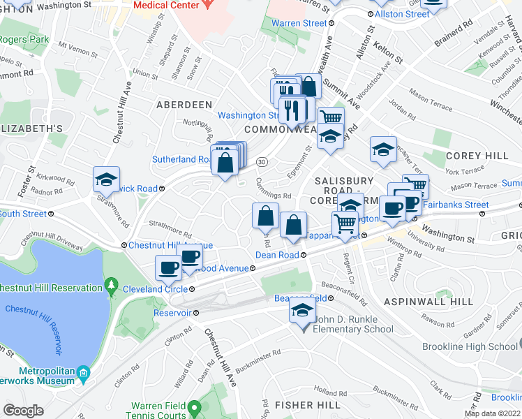 map of restaurants, bars, coffee shops, grocery stores, and more near Kilsyth Road in Boston