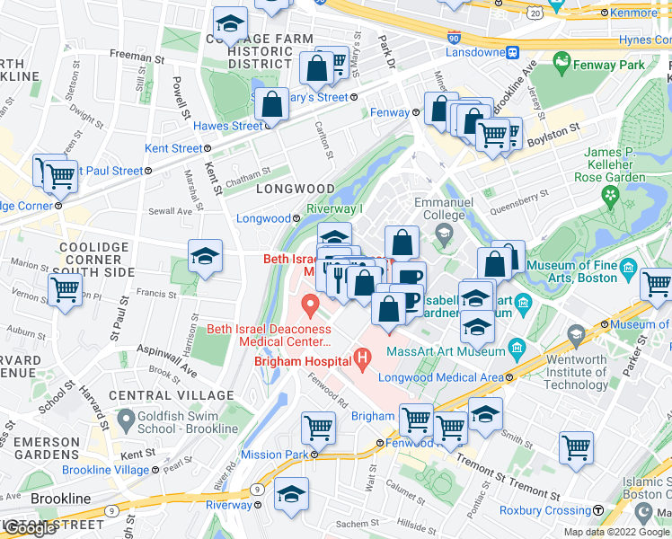 map of restaurants, bars, coffee shops, grocery stores, and more near 103-117 Pilgrim Rd in Boston