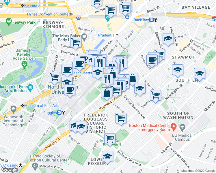 map of restaurants, bars, coffee shops, grocery stores, and more near Columbus Ave & Northampton St in Boston