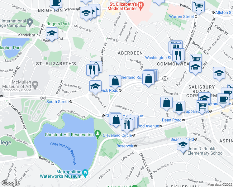 map of restaurants, bars, coffee shops, grocery stores, and more near Commonwealth Avenue & Chiswick Road in Boston
