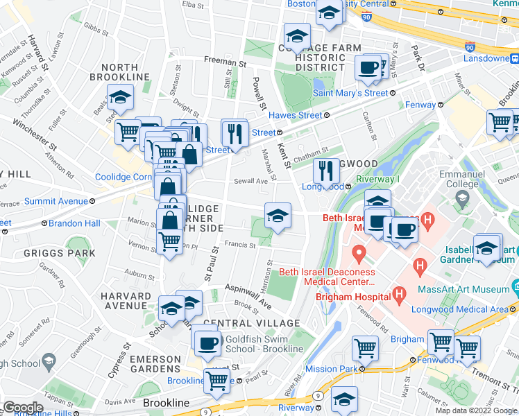 map of restaurants, bars, coffee shops, grocery stores, and more near Longwood Avenue in Brookline