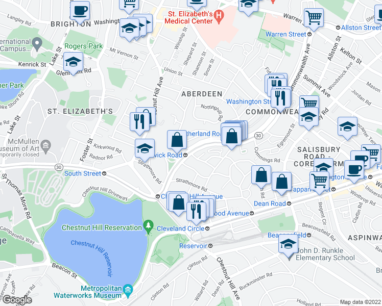 map of restaurants, bars, coffee shops, grocery stores, and more near Commonwealth Ave & Kinross Rd in Boston