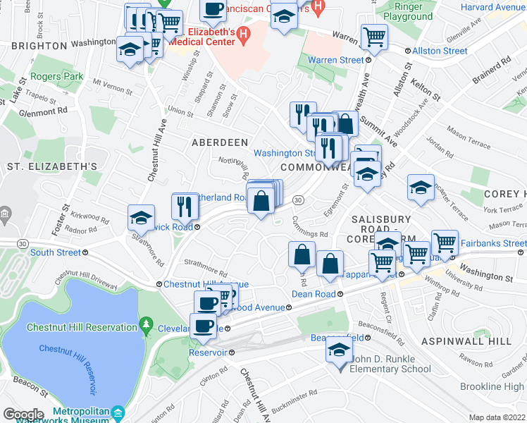 map of restaurants, bars, coffee shops, grocery stores, and more near Commonwealth Avenue & Sutherland Road in Boston