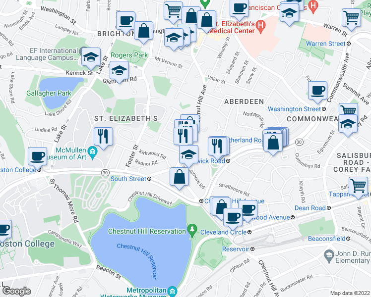 map of restaurants, bars, coffee shops, grocery stores, and more near Chestnut Hill Ave & Embassy Rd in Boston