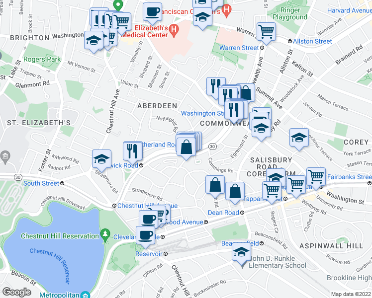 map of restaurants, bars, coffee shops, grocery stores, and more near Commonwealth Ave & Euston Rd in Boston