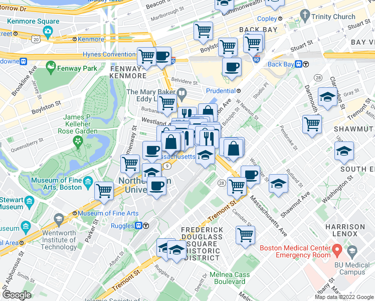 map of restaurants, bars, coffee shops, grocery stores, and more near Avenue of the Arts in Boston