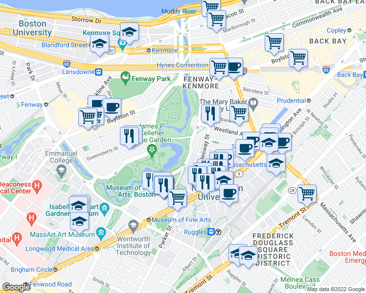 map of restaurants, bars, coffee shops, grocery stores, and more near 100-110 Fenway in Boston
