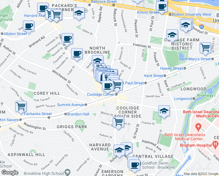 map of restaurants, bars, coffee shops, grocery stores, and more near Harvard Street in Brookline