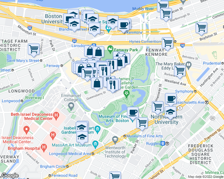 map of restaurants, bars, coffee shops, grocery stores, and more near Queensberry Street & Jersey Street in Boston