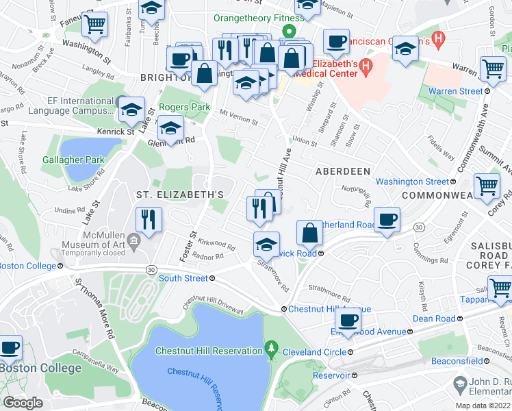 map of restaurants, bars, coffee shops, grocery stores, and more near Hatherly Rd in Boston