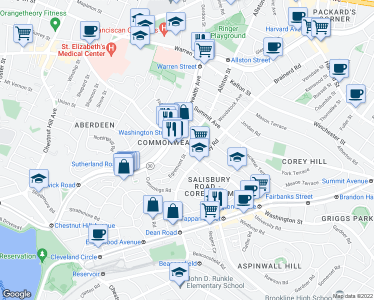map of restaurants, bars, coffee shops, grocery stores, and more near Washington Street & Egremont Road in Boston