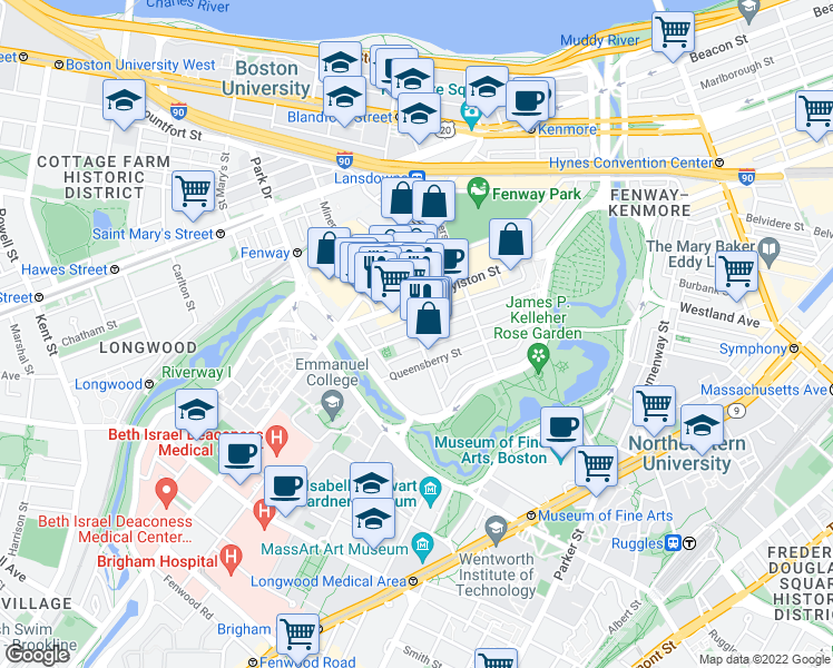 map of restaurants, bars, coffee shops, grocery stores, and more near Peterborough Street & Kilmarnock Street in Boston