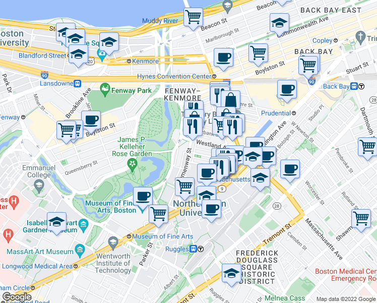 map of restaurants, bars, coffee shops, grocery stores, and more near Hemenway St & Symphony Rd in Boston