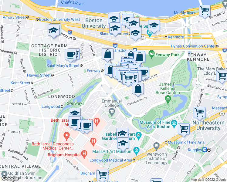 map of restaurants, bars, coffee shops, grocery stores, and more near Park Dr in Boston