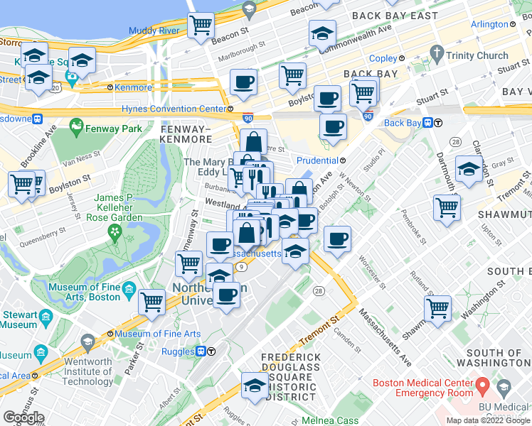map of restaurants, bars, coffee shops, grocery stores, and more near Massachusetts Avenue & Westland Avenue in Boston