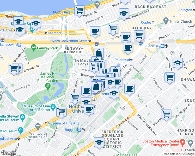 map of restaurants, bars, coffee shops, grocery stores, and more near Westland Avenue & Edgerly Road in Boston