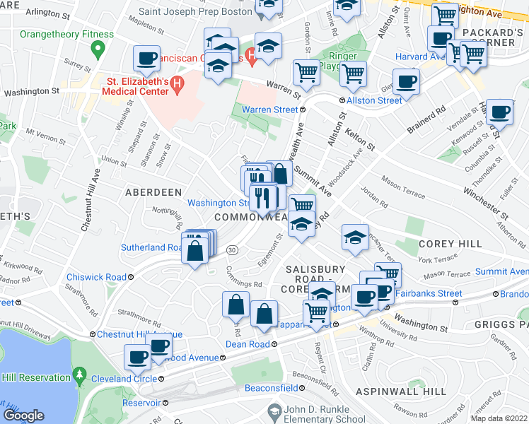 map of restaurants, bars, coffee shops, grocery stores, and more near Commonwealth Avenue & Washington Street in Boston