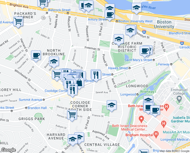 map of restaurants, bars, coffee shops, grocery stores, and more near St Paul St in Brookline