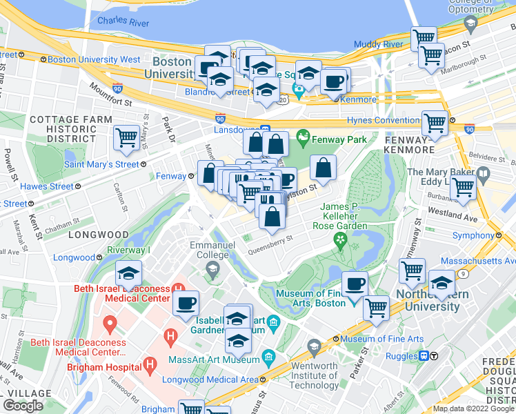 map of restaurants, bars, coffee shops, grocery stores, and more near Boylston St & Kilmarnock St in Boston