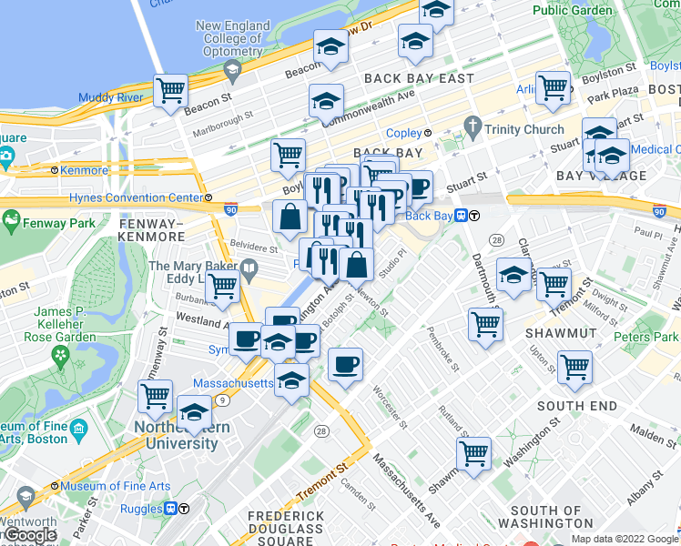 map of restaurants, bars, coffee shops, grocery stores, and more near Huntington Avenue & West Newton Street in Boston