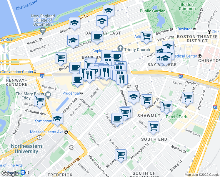 map of restaurants, bars, coffee shops, grocery stores, and more near Yarmouth St & Yarmouth Pl in Boston