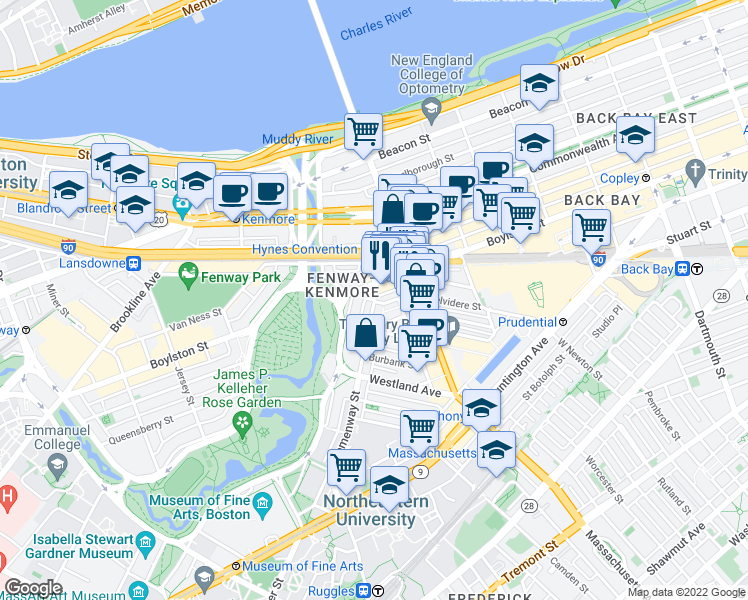 map of restaurants, bars, coffee shops, grocery stores, and more near Hemenway Street in Boston
