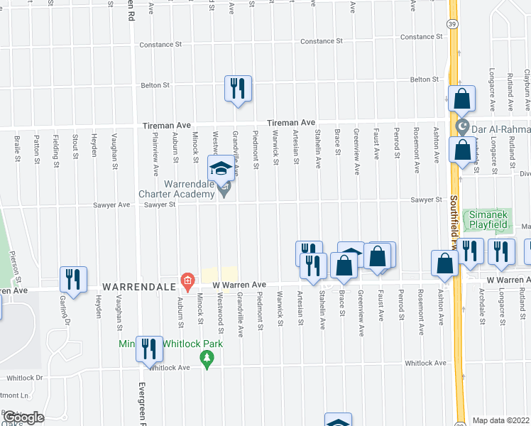 map of restaurants, bars, coffee shops, grocery stores, and more near 7420 Piedmont Street in Detroit
