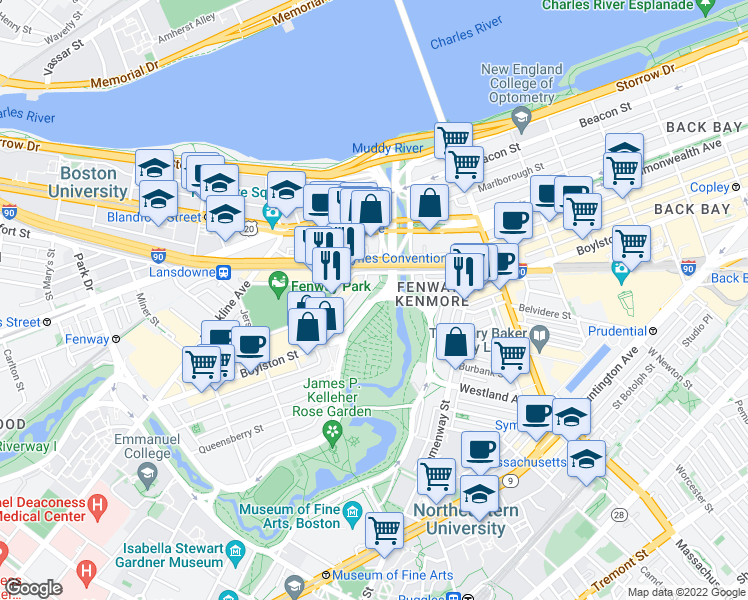 map of restaurants, bars, coffee shops, grocery stores, and more near Boylston St & Charlesgate in Boston
