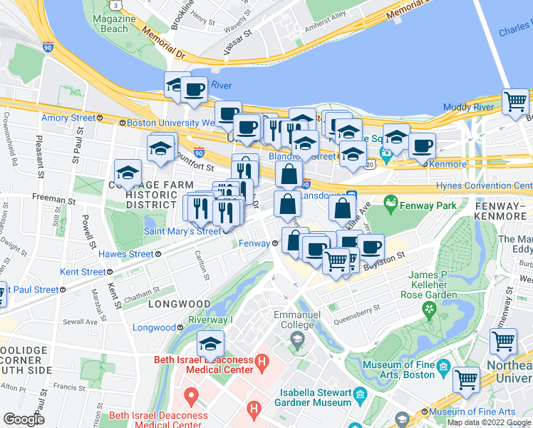 map of restaurants, bars, coffee shops, grocery stores, and more near Bea
