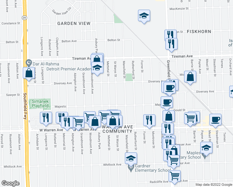 map of restaurants, bars, coffee shops, grocery stores, and more near 7430 Saint Marys Street in Detroit